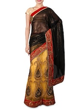 Yellow Georgette Jacquard Net Viscose Saree - By