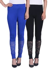 Black And Blue Viscose Laced Leggings (Set Of 2) - By