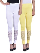 Yellow And White Viscose Laced Leggings (Set Of 2) - By