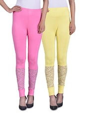 Light Pink And Yellow Viscose Laced Leggings (Set Of 2) - By