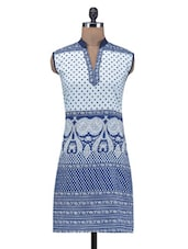Blue Printed Cotton Kurta - By