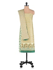 Beige Printed Cotton Suit Set - By