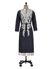 Black Rayon Embroidered Kurti - By