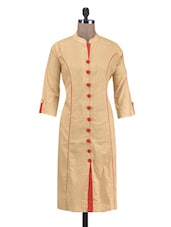 Beige Cotton Kurti With Non-functional Buttons - By