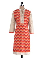 Orange Rayon Printed Kurta - By