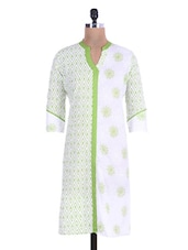 White And Green Printed Cotton Kurti - By