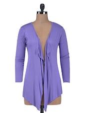Purple Plain Cotton Knit Shrug - By