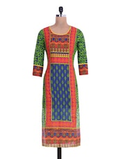 Green And Red Cotton Printed Kurti - By