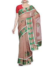 Brown And Green Net Sari - By