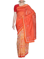 Orange Net Printed Sari - By