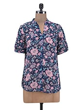 Dark Blue Floral Print Georgette Shirt - By
