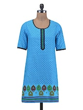 Blue Printed Cotton Summer Kurta - By