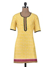 Yellow Printed Poly Cotton Kurta - By