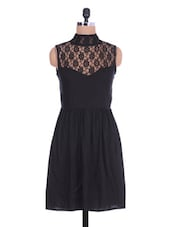 Black Sleeveless Rayon Dress With Lace Yoke - By