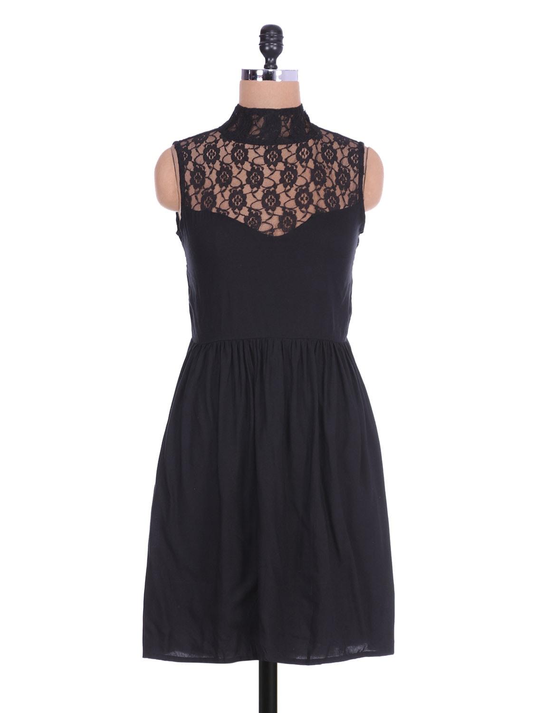 Black Sleeveless Rayon Dress With Lace Yoke - By
