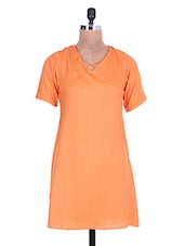 Solid Orange Rayon Dress - By