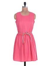 Solid Pink Polycrepe Dress With Fabric Belt - By