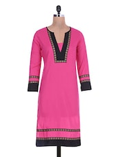 Pink And Black Cotton Lace Kurti - By
