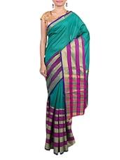 Green Banarsi Silk Handwoven Yarn N Dyed Stripe Saree - By