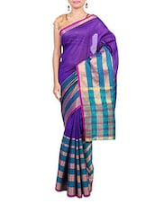 Purple Banarsi Silk Handwoven Yarn N Dyed Stripe Saree - By