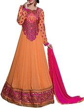 Peach Orange Embroidered Suit Set - By