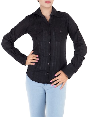 black cotton shirt -  online shopping for Shirts