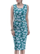 Green And White Printed Polyester Dress - By