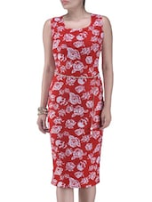 Red And White Printed Polyester Dress - By