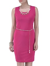 Solid Pink Polyester Dress - By