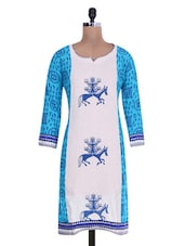 Blue And White Khadi Cotton Printed Kurti - By