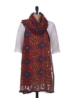 Brick Red Embroidered Dupatta - Vayana