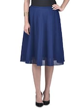 Solid Blue Polygeorgette Midi Skirt - By