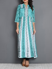 Turquoise And White Chikankari Kurta - By