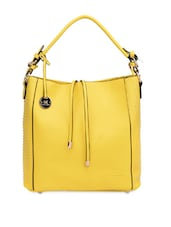 Studded Yellow Leatherette Handbag - By