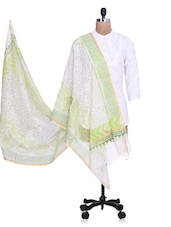 Green Chanderi Silk Zari Printed Dupatta - By - 1274508