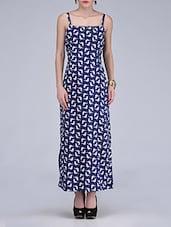 Bird Print Dark Blue Maxi Dress - By