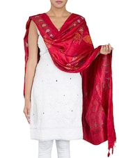 Floral Printed Crimson Cotton Dupatta - By