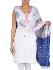 Printed White And Dark Blue Cotton Dupatta - By