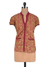 Printed Maroon And Green Cotton Top - By