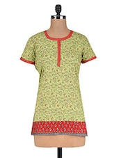 Printed Green Cotton Tunic - By