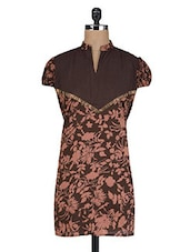 Brown Cotton Floral Print Kurti - By