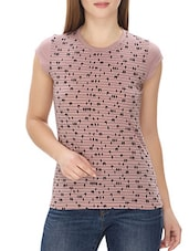 pink printed polyester regular tee -  online shopping for Tees