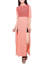 peach printed cotton dress -  online shopping for Dresses