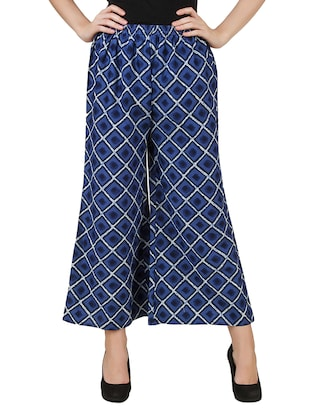 blue cotton printed palazzo -  online shopping for Palazzos