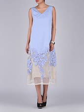 Light Blue And Grey Patchworked Sleeveless Dress - By