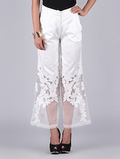 White Appliqued Loose Pants - By