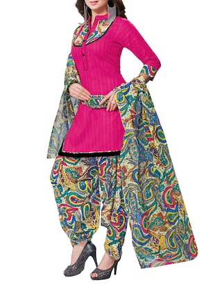 Multicolored Cotton salwar suits dress material -  online shopping for Dress Material