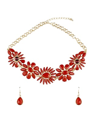 red metal necklaces and earring -  online shopping for Necklaces and Earrings