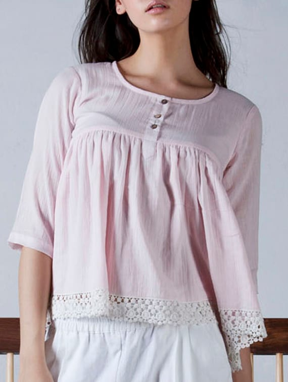 Baby Pink Cotton Lace Detailed Top - By