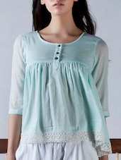 Sea-green Lace Detailed Cotton Top - By